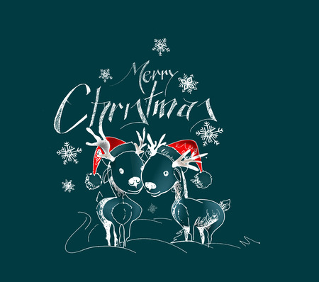 Merry Christmas! Cartoon Style Hand Sketchy drawing of couple of reindeer, vector illustration