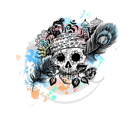 skull logo: Pirate skull corsair logo - Head of men with rose peacock feather temple for black magic design Illustration