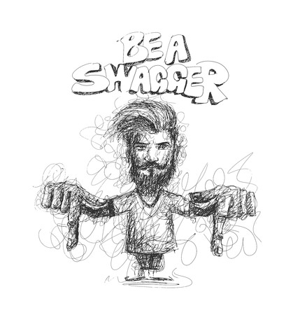 swagger: Modern Be a Swagger, calligraphy. Handwritten phrase. Hipster Swag Style, Hand Sketchy line art stylish men showing her finger down. vector illustration. Illustration