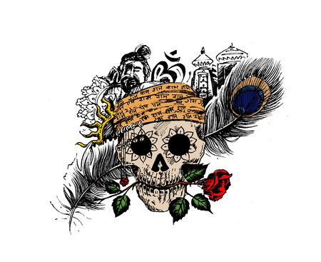 Pirate skull corsair logo - Head of men with rose peacock feather temple for black magic design
