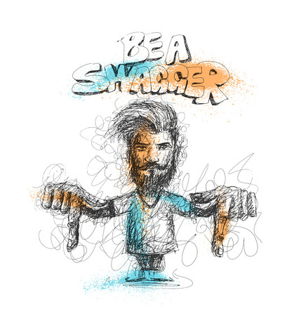Modern Be a Swagger, calligraphy. Handwritten phrase. Hipster Swag Style, Hand Sketchy line art stylish men showing her finger down. vector illustration. Illustration