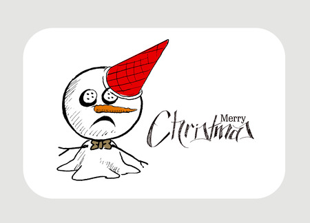 santa cap: Merry Christmas! Christmas background with cute Snowman wearing santa claus cap. Christmas design. Vector illustration isolated on white. Illustration