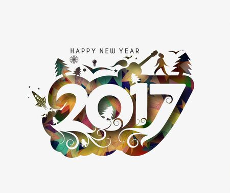 happy newyear: Happy new year 2017 Holiday - Christmas Tree with Snowflakes Vector Illustration background Illustration