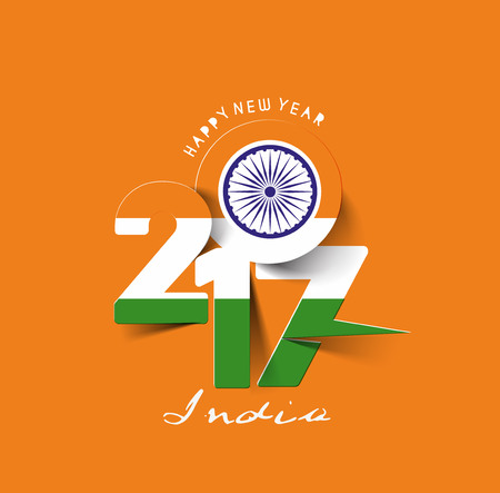 hindustan: Happy new year 2017 with India Flag Pattern Text Vector Design Background