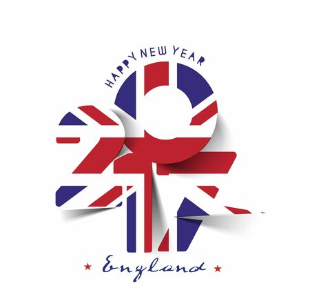 Happy new year 2017 with U.K Flag Pattern Text Vector Design Background
