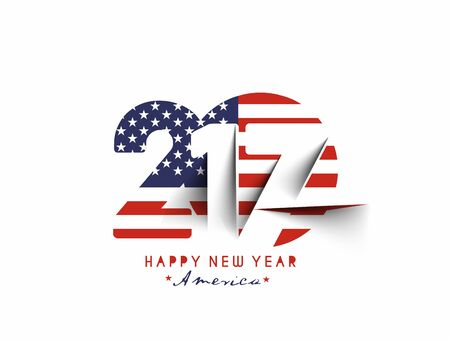 newyear card: Happy new year 2017 with U.S.A Flag Pattern Text Vector Design Background