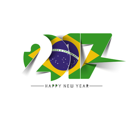 janeiro: Happy new year 2017 with Brazil Flag Pattern Text Vector Design Background