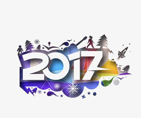 newyear: Happy new year 2017 Holiday - Christmas Tree with Snowflakes Vector Illustration background Illustration