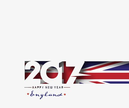bandera reino unido: Happy new year 2017 with U.K Flag Pattern Text Vector Design Background