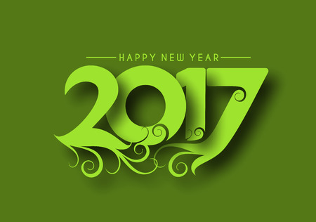 newyear card: Happy new year 2017 Holiday, Swirl Text Vector Illustration background Illustration