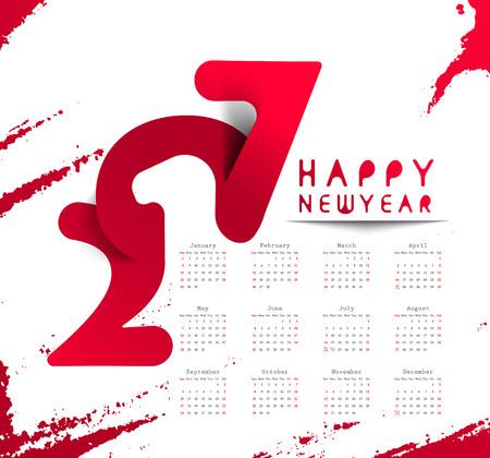 Happy New Year 2017 Calendar New Year Holiday Design Elements
