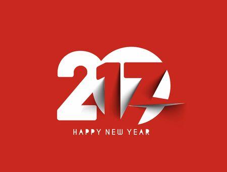 Happy new year 2017 Text Design vector illustration