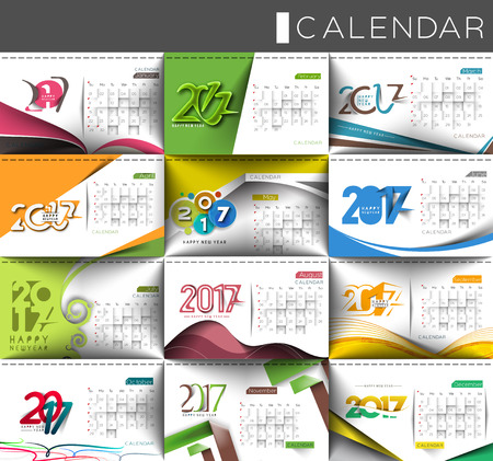 calender: Collection of Happy new year 2017 Calendar Design Elements for holiday cards, calendar banner poster for decorations, Vector Illustration Background.