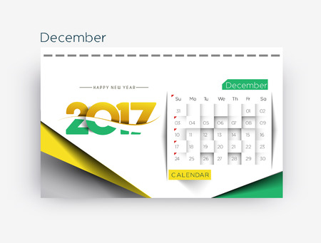 calender: Happy new year 2017 Calendar Design Elements for holiday cards, calendar banner poster for decorations, Vector Illustration Background.