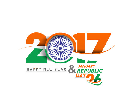 26: Happy new year 2017 with Indian Republic day concept with text 26 January.
