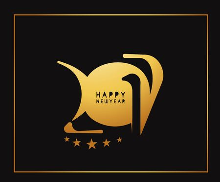 new years resolution: Happy new year 2017 Golden Text Design vector illustration