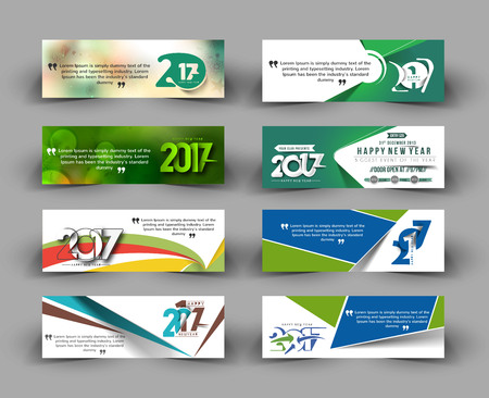 advertising design: New year 2017 website header, banner, template, brochure, Web sites, page, leaflet, advertising design with colored lines and waves and text separately.
