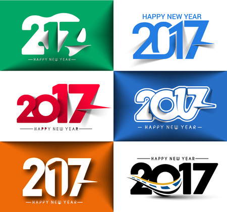 text year: Collection of Happy new year 2017 Text Design for Flyers and Greetings Card. Vector illustration Illustration