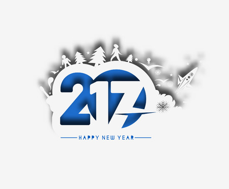 Happy new year 2017 Text Design Vector illustration Illustration