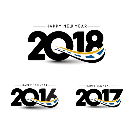 Happy new year 2018 - 2017 Text Design Vector illustration Illustration