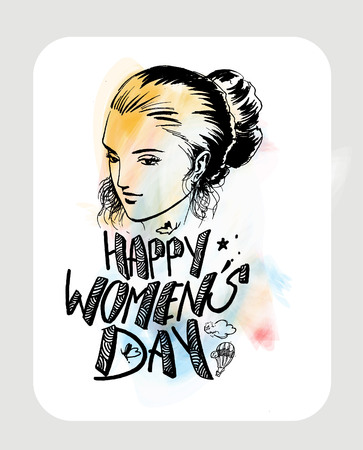 Happy Womens Day greeting card design. Hand Drawn Sketch illustration. Illustration