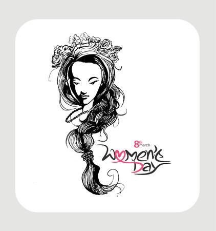 Women's health: Happy Womens Day greeting card design. Hand Drawn Sketch illustration. Illustration