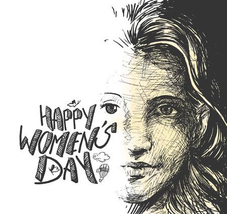 Happy Women's Day greeting card design. Hand Drawn Sketch illustration.