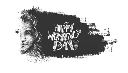 womans: Happy Womens Day greeting card design. Hand Drawn Sketch illustration. Illustration