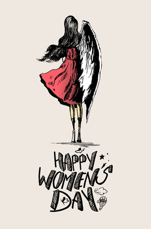 happy woman: Happy Womens Day, angel woman with wings . Hand Drawn Sketch illustration.
