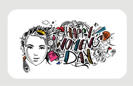 행복 한 여자의 하루 인사말 카드 디자인입니다. 손으로 그린 스케치 그림입니다. 일러스트