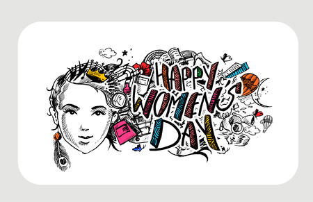 Happy Womens Day greeting card design. Hand Drawn Sketch illustration. Ilustração