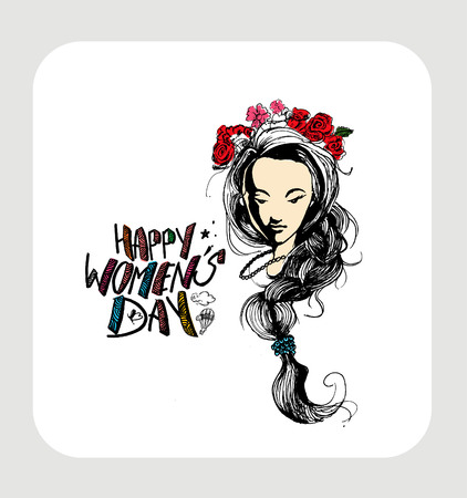 international: Happy Womens Day greeting card design. Hand Drawn Sketch illustration. Illustration
