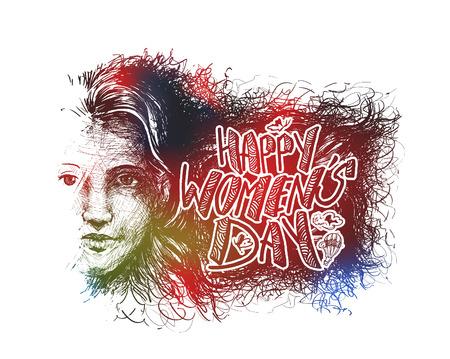 day: Happy Womens Day greeting card design. Hand Drawn Sketch illustration. Illustration