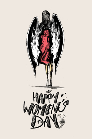 Happy Womens Day greeting card design. Hand Drawn Sketch Vector illustration. Illustration