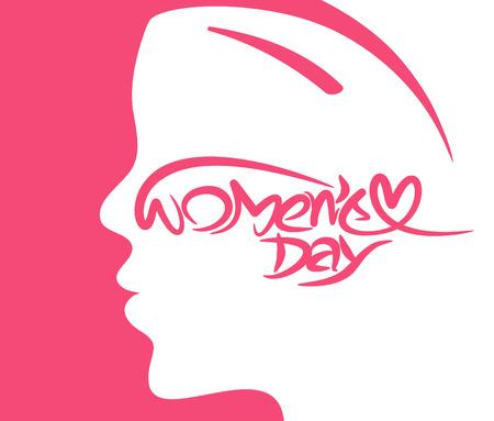 Happy womens day stylish typography text illustration.