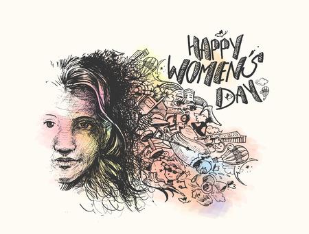 Happy Womens Day greeting card design. Hand Drawn Sketch illustration. Illustration