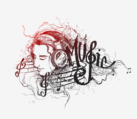 Colorful music background. Vector girl listens to music. cartoon illustration. Isolated on white.