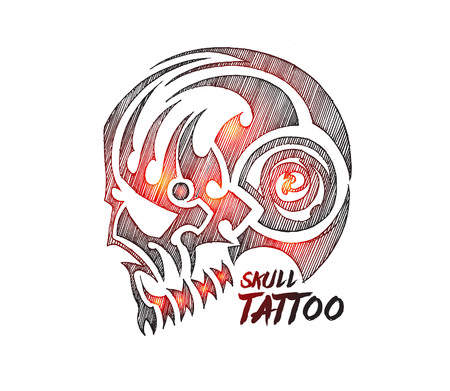 Tribal skull Tattoo, vector illustration