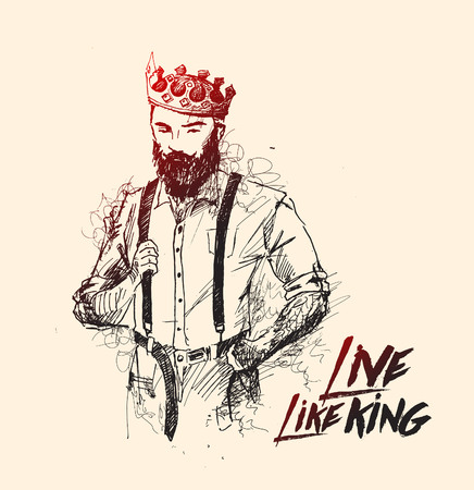 Cool king hipster hair style character design, Hand Drawn Sketch Vector illustration.