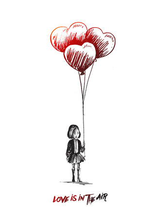 Little girl with heart shape balloons. Hand Drawn sketch concept vector illustration.