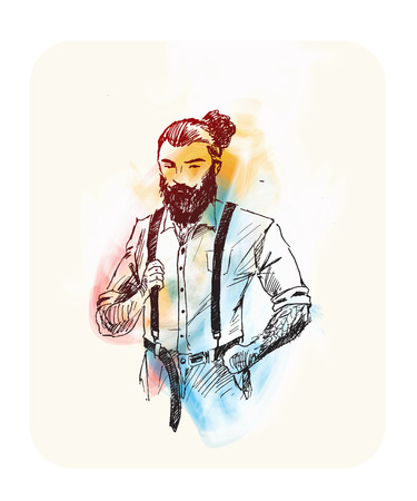 Cool hipster hair style character design, Hand Drawn Sketch Vector illustration. Illustration