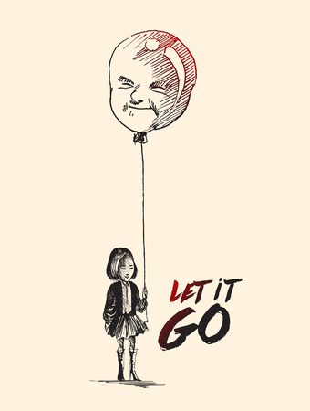 Little girl with men shape balloons with text of let it go, Hand Drawn Sketch Vector.
