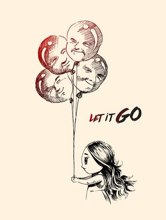 Kleines Mädchen mit Männern Form Ballons mit Text von lassen Sie es gehen, Hand gezeichnet Skizze Vektor.