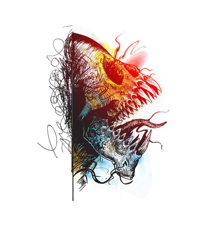 Colorful Aggressive Monster Tottoo design, Hand Drawn Sketch Vector illustration.