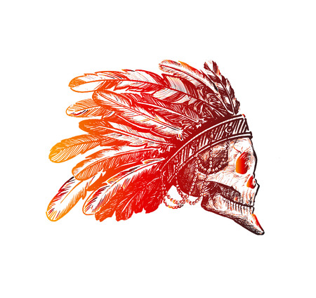 Skull silhouette Skull indian chief in hand drawing. Hand Drawn Sketch Vector illustration.