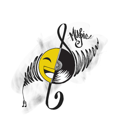 Abstract musical background. Vinyl disk with music note Illustration
