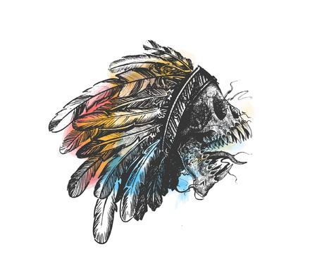 Hipster schedel silhouet Skull indian chief in hand tekening. vector illustratie.