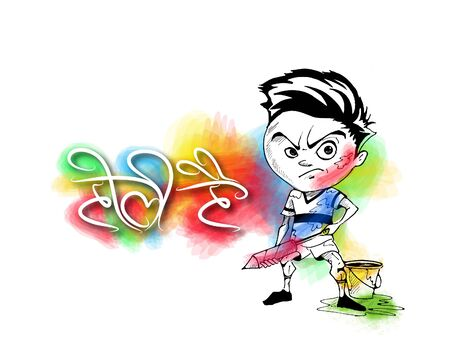 Holi celebrations - A boy playing Holi, Hand Drawn Sketch Vector Background.