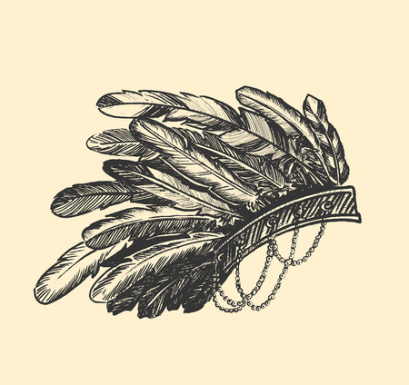 Stunning Crown of feathers- Native american indian chief headdress Illustration