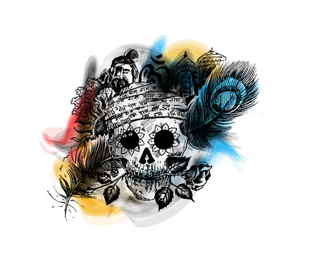Pirate skull  corsair logo. Head of men with rose peacock feather temple for black magic skull design.